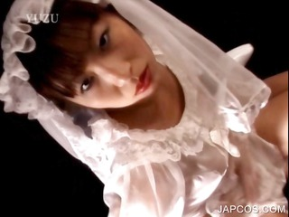 asian into bride suit pleasing her pussy
