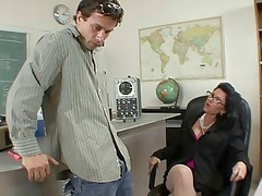 badass milf does blowjob and titsjob for scholar