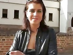 brunette chick is drilled later to a castle
