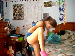 extremely pretty petite teenie dancing and self