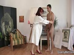 elderly paintress likes his hard meat
