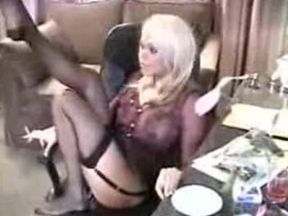 slutty pale exposes down to nylons for a smoke at