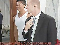 man gangbanged in a public restroom