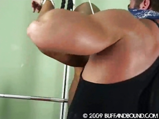 eastern  bodybuilder bound and stripped showed