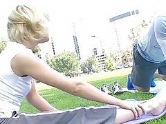 sporty albino chick doing cock sucking open-air