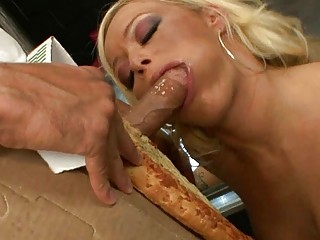 bleached girl doing a striptease for a pizza