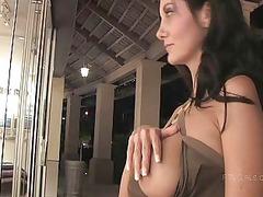 luna horny sensual brunette chick outdoor