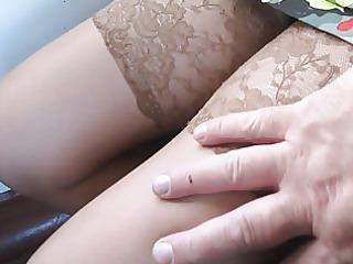 my sweetheart flashing pantyhose in a train 1