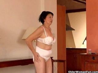 over 70 elderly does striptease and masturbates