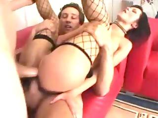 bawdy girl obtains twin penetration
