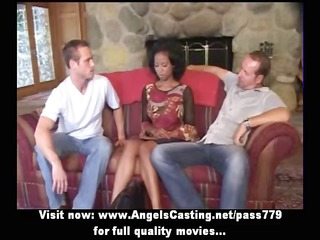 innocent afro bride into triple does blowjob for