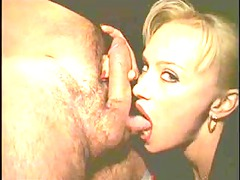 lascivious golden-haired russian chick licks a