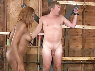black tranny dominates ashen boy