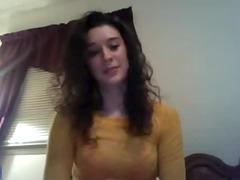 timid amateur lady on webcam
