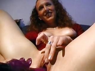 ginger german enjoys with vibrator
