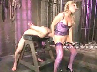 hot pale brutal woman whips slave spanks him and