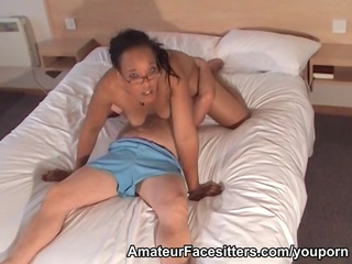 dominant black belle facesits an mature boy