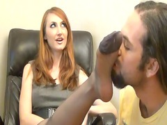 sniffing nylon foot & footjob in the office