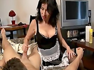 maid gives a handjob and acquires blasted with