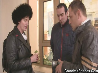 naughty granny acquires lured in threesome