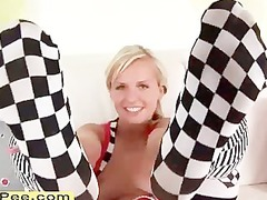 superb blond teen bella vibrator bottom and piss