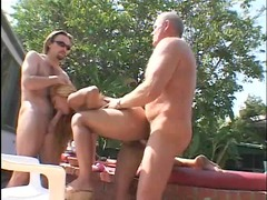 bleached doxy licks and takes 2 jocks open-air