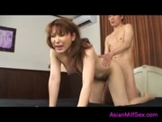 Asian Milf Getting Her Hairy Pussy Fucked By Her
