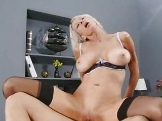 naughty blond celebrity inside brown pantyhose