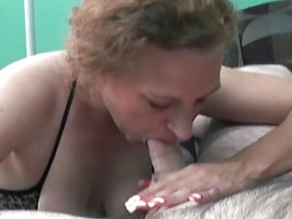 ginger amanda inside a gstring and swallowing a