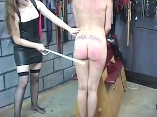 hot brunette hair inside leather punishes chick