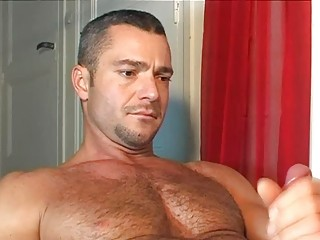 hung handsome bear had a pretty handjob from his