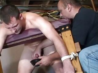 gay bondage slave acquires jerked off