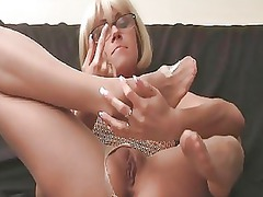 stretched legged albino in pantyhose and high