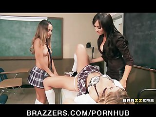 SEXY Asian French teacher Katsuni punishes two