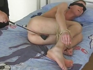 pale gay fellow acquires blindfolded and spanked